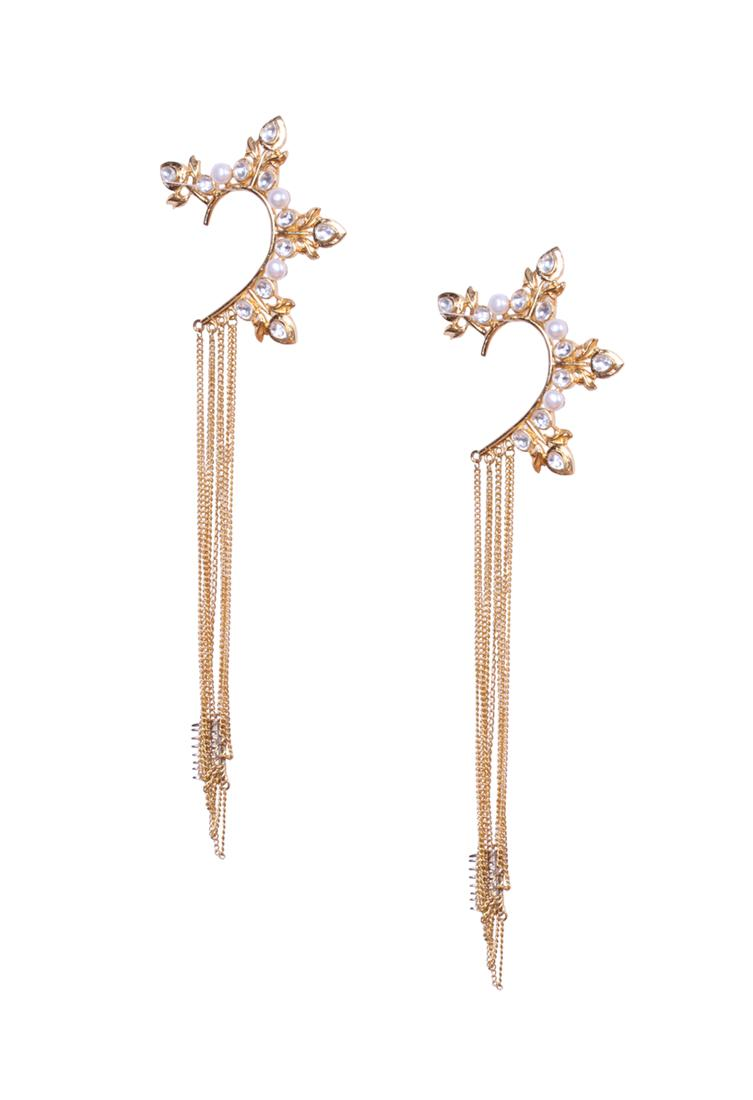 RohitaPearl and crystal earcuffs with gold chain tassels