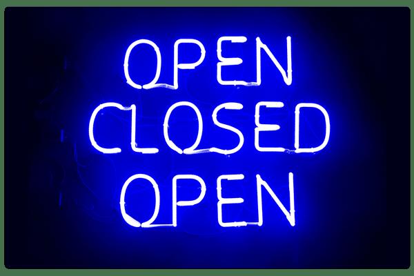 Neon Box Open Closed Open