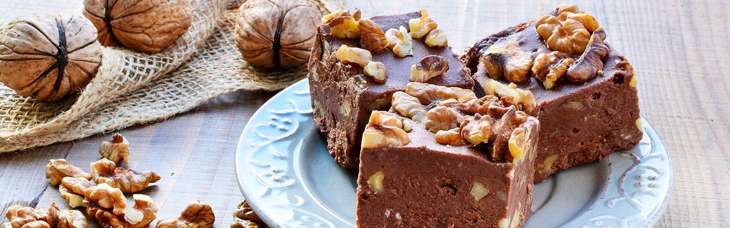 Fudge CBD chocolate bar with walnuts on it