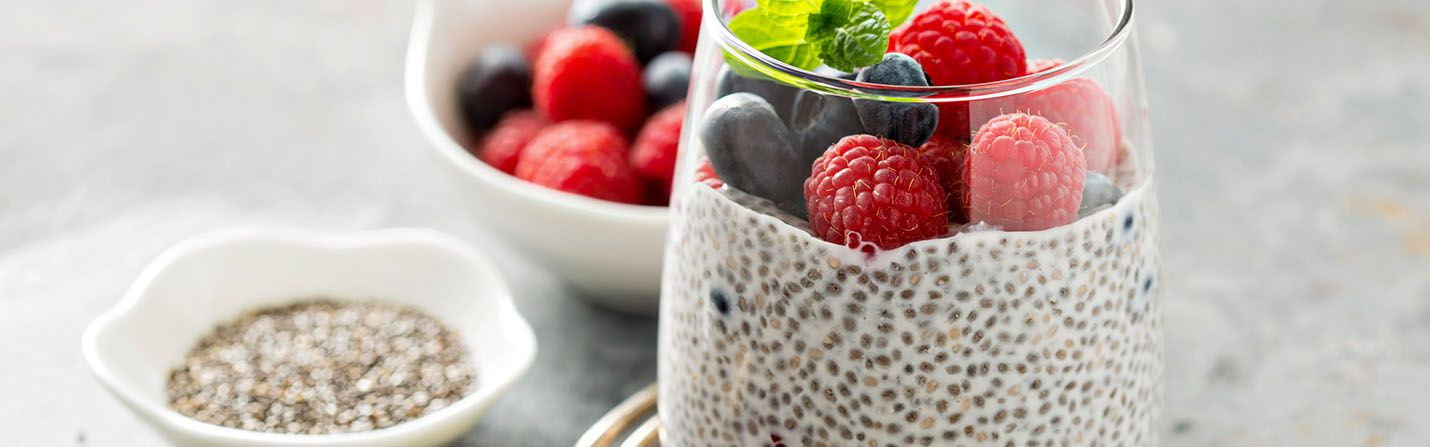CBD infused chia seeds pudding with strawberries on it