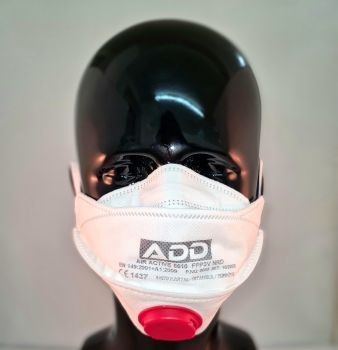 CBDArmour ffp3 face mask with red filter on black Mannequin