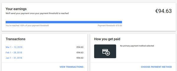 Google adsense payment method and threshold