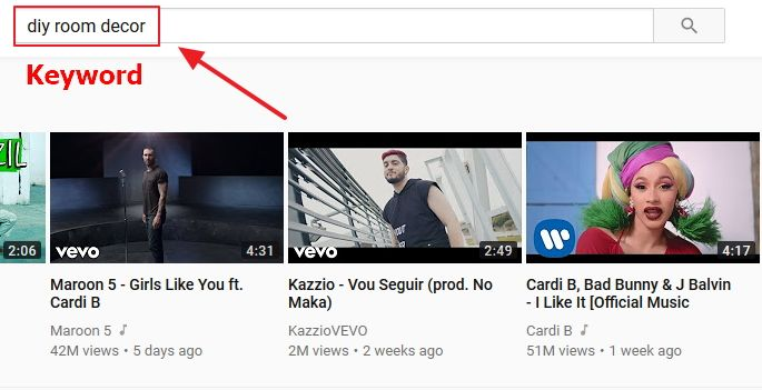searching keyword on youtube