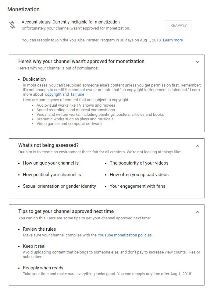 Youtube partnership rejection