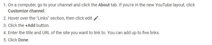 how to add social links to a youtube channel banner