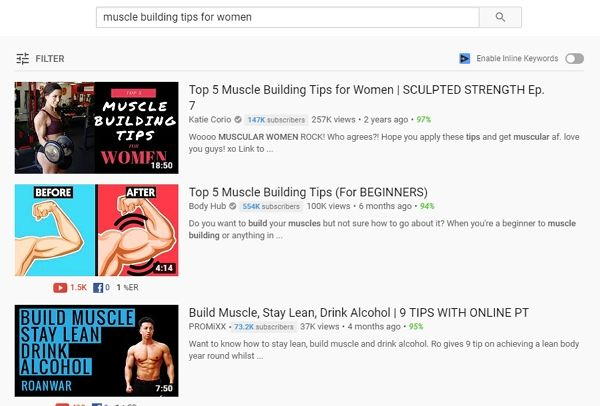youtube search function