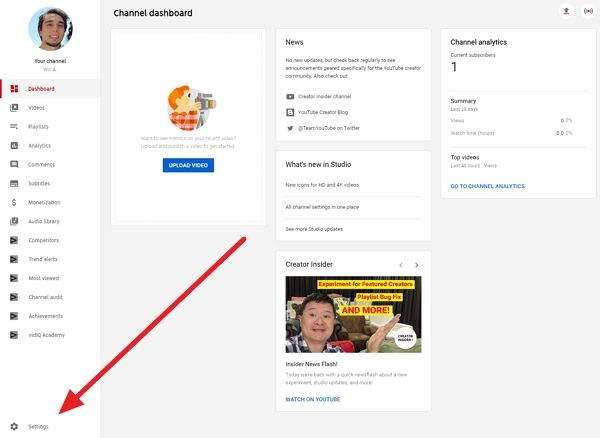 youtube channel settings location