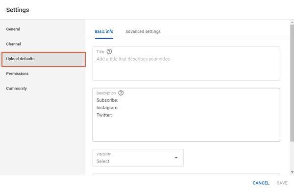 youtube channel upload defaults