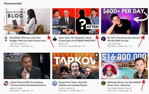 youtube homepage with long videos