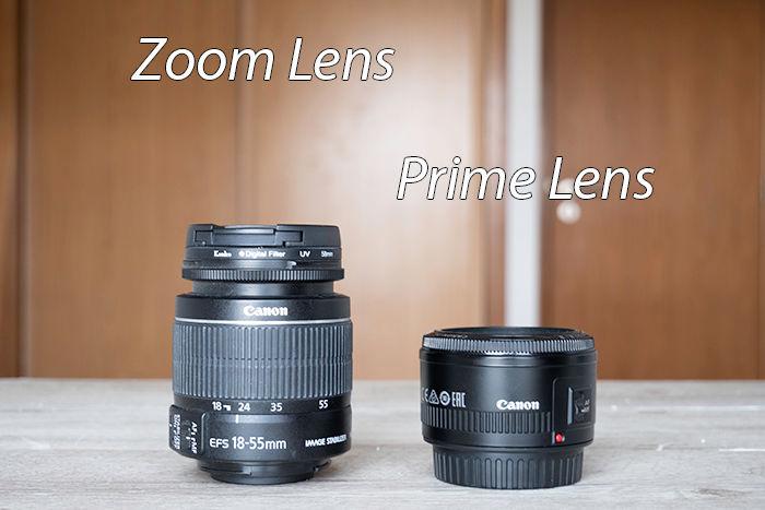 zoom lens vs prime lens size difference