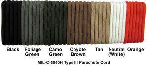 Genuine 550 Parachute Cord, MIL-C-5040 Type III