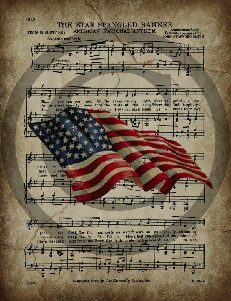 Primitive Americana Star Spangled Banner Grungy Sheet Music Patriotic Print 8×10