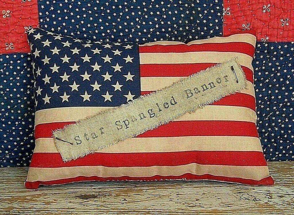 "Primitive Flag Pillow ""star Spangled Banner"" Americana Farmhouse Handmade"