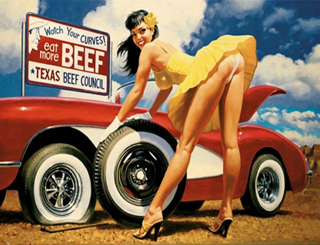 "TIN SIGN ""Hot Damsel in Distress"" Pinup Babe Deco Garage Wall Babes Girls"