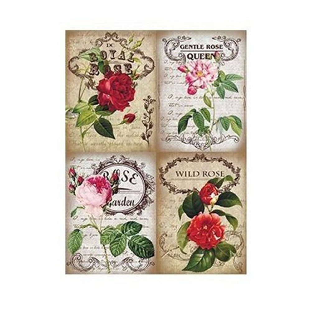 Script Roses Rice Decoupage Paper Cad277 Cadence