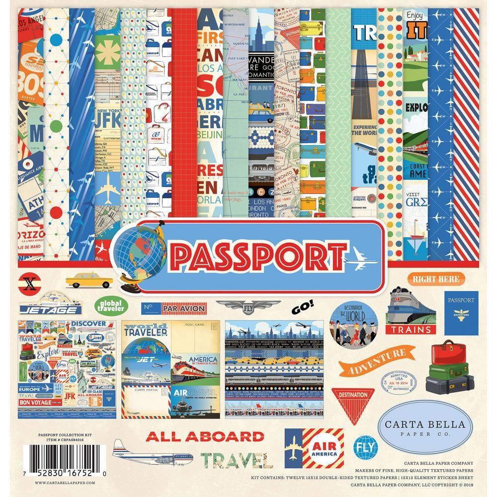 "12 Designs//2 Each Carta Bella Double-sided Paper Pad 6/""x6/"" 24//pkg-passport"