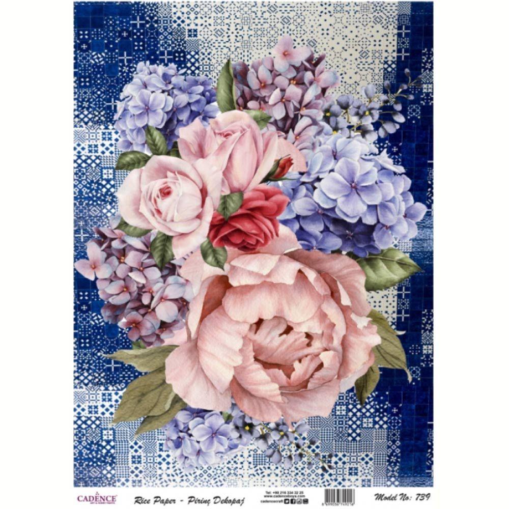 Rice Paper for Decoupage Scrapbook Craft Sheet Purple Bouquet
