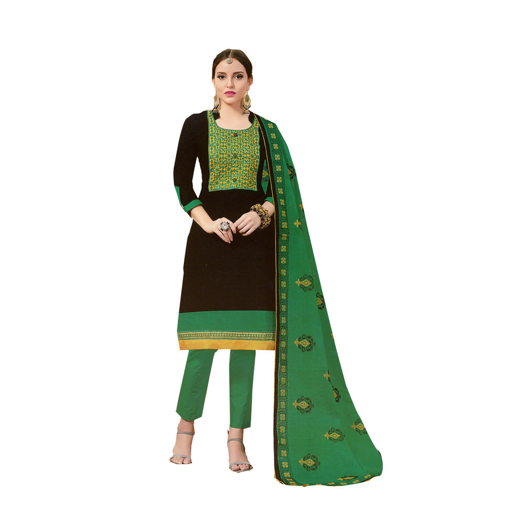 Buy ryd black green embroidered unstitched dress material