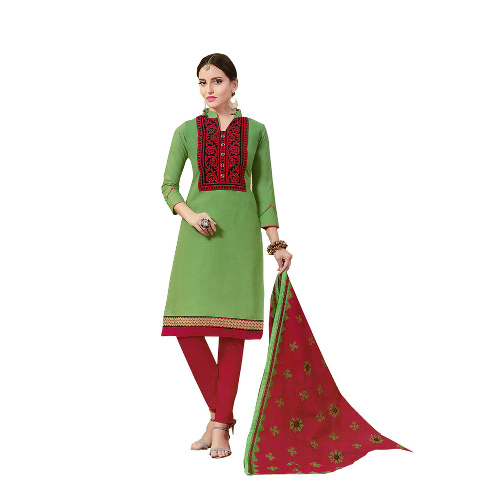 Buy ryd green red embroidered unstitched dress material