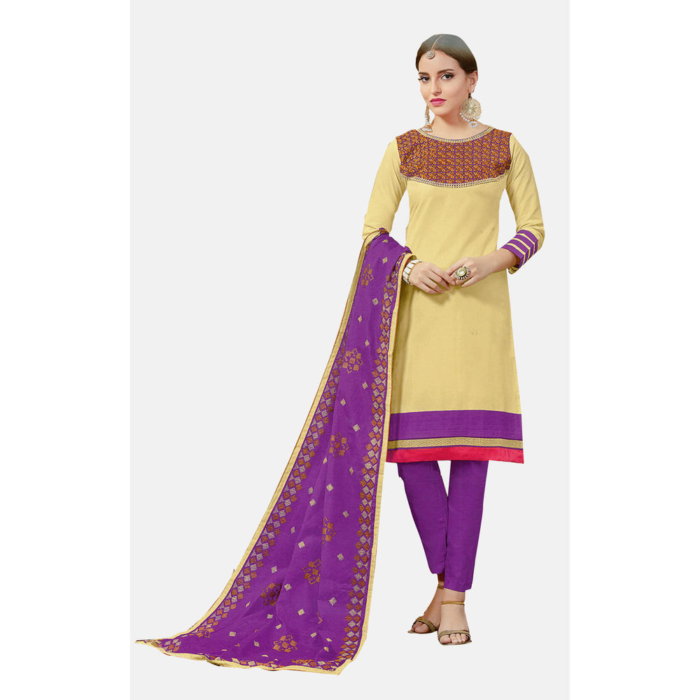 Buy ryd cream violet embroidered unstitched dress material