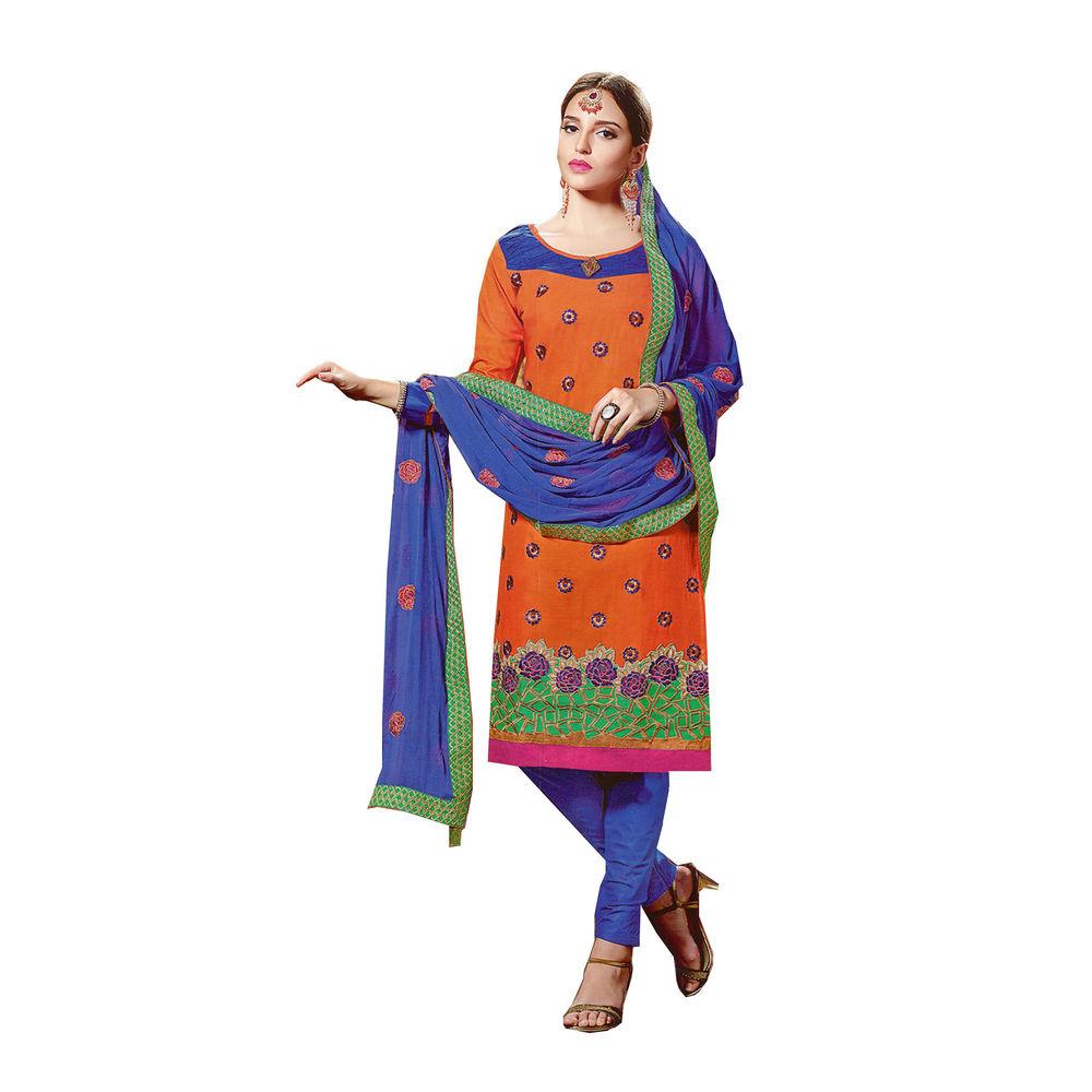 Buy jsn orange dark blue embroidered unstitched dress