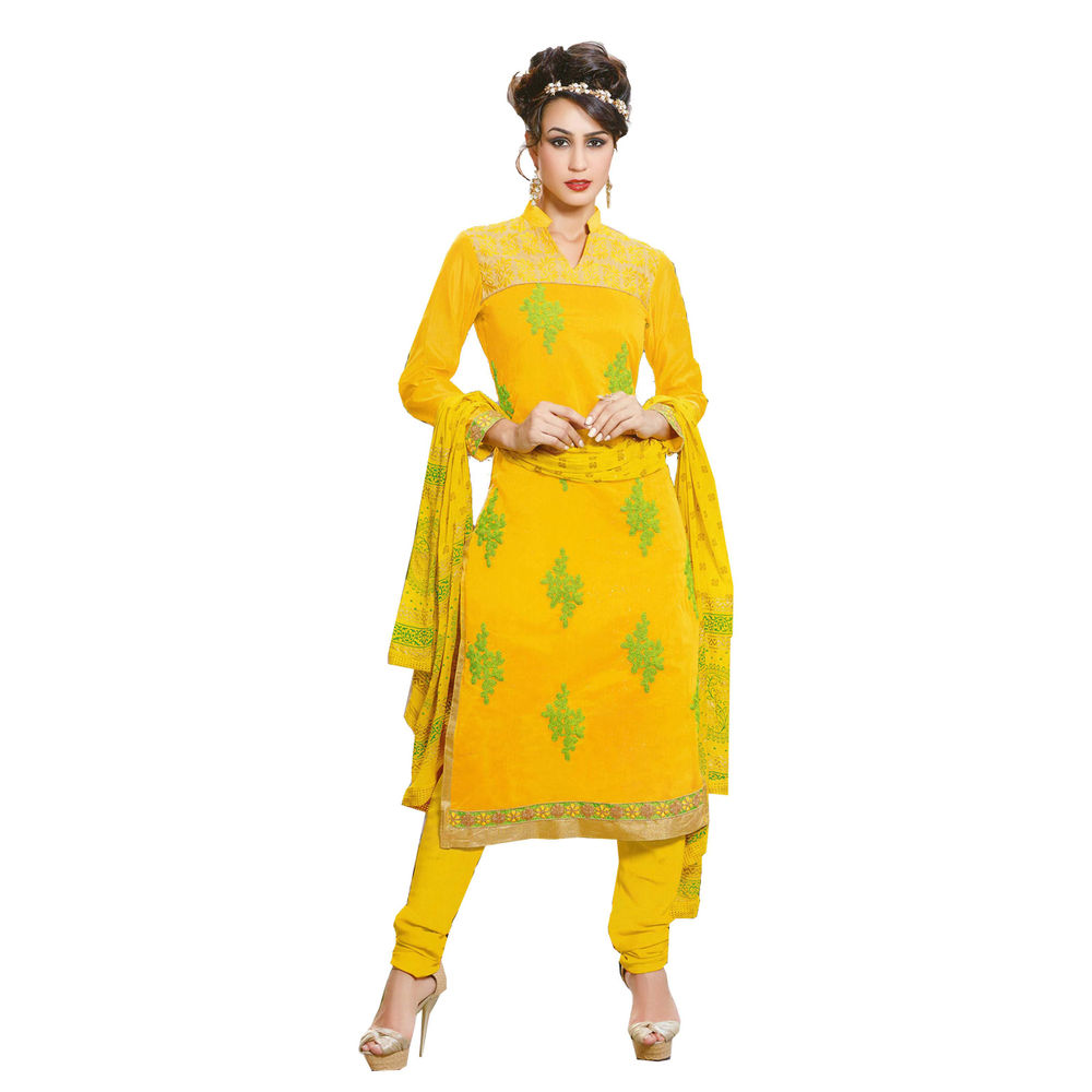 Buy ls yellow embroidered unstitched dress material online