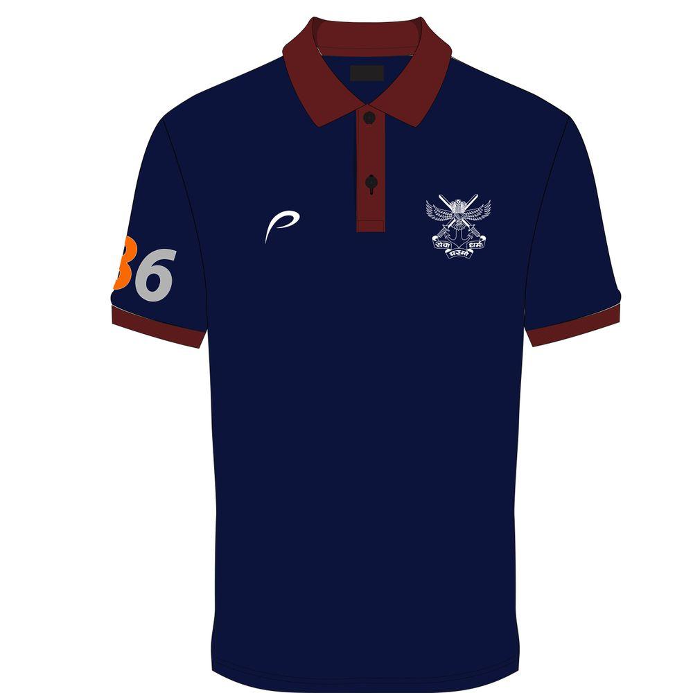 ac5d3e4fc Proline Navy Blue Collar Neck Satin Short Sleeve Graphic Cotton T-shirt