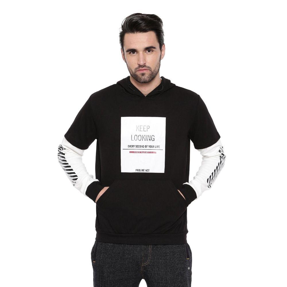 324ff2abe Proline Active Men Black Comfort Fit Hoodie Sweatshirt With Insert Sleeve |  Pa15340bk