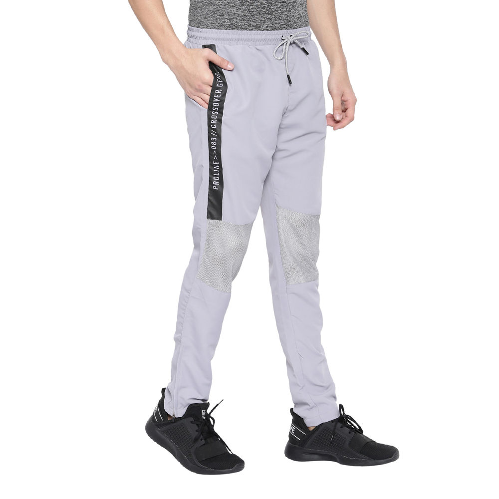 77fc1cdfc8ed4b Proline Mens Light Grey Slim Fit Woven Track Pant With Side Seam Print  Detail