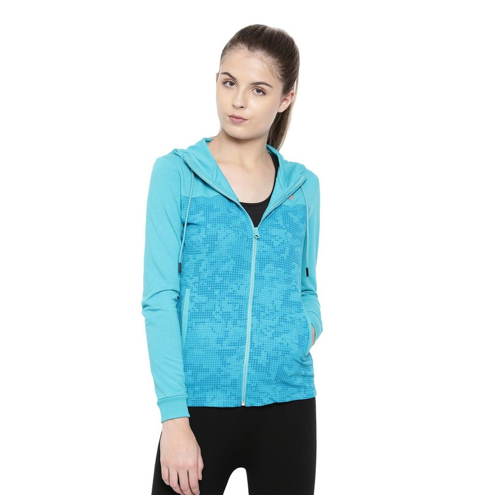 7d5971640 Proline Active Women Atol Blue High Neck Hoodie With Contrast Zipper And  Inner Hoodie Detail | Pa15746mb