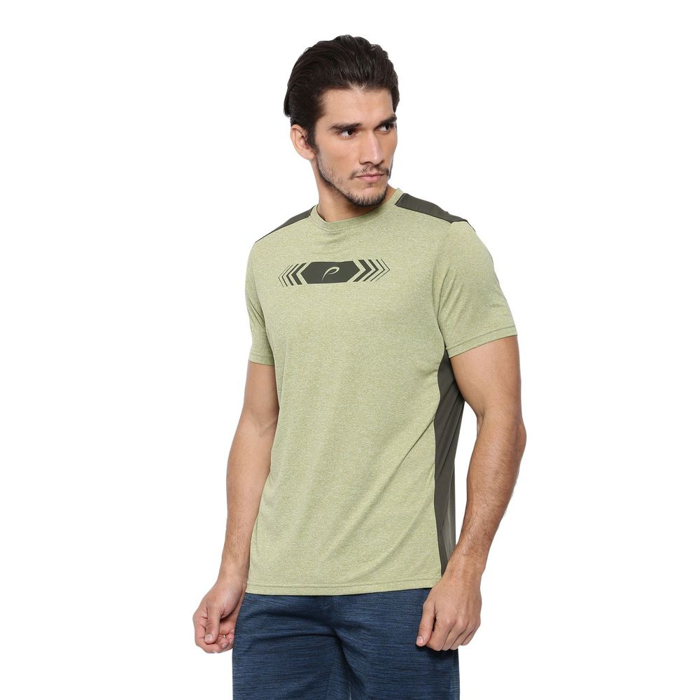 250cada1ed07 Proline Active Olive Crew Neck Short Sleeve Color Block Print Detail  Polyester Tee Shirt | Pa16323lmg