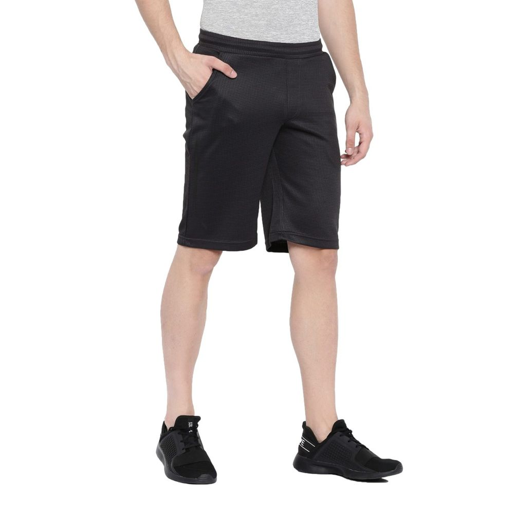 5957999b09 Proline Active Men Dark Grey Polyester Knee Length Narrow Fit Solid Shorts  | Pa16413lde