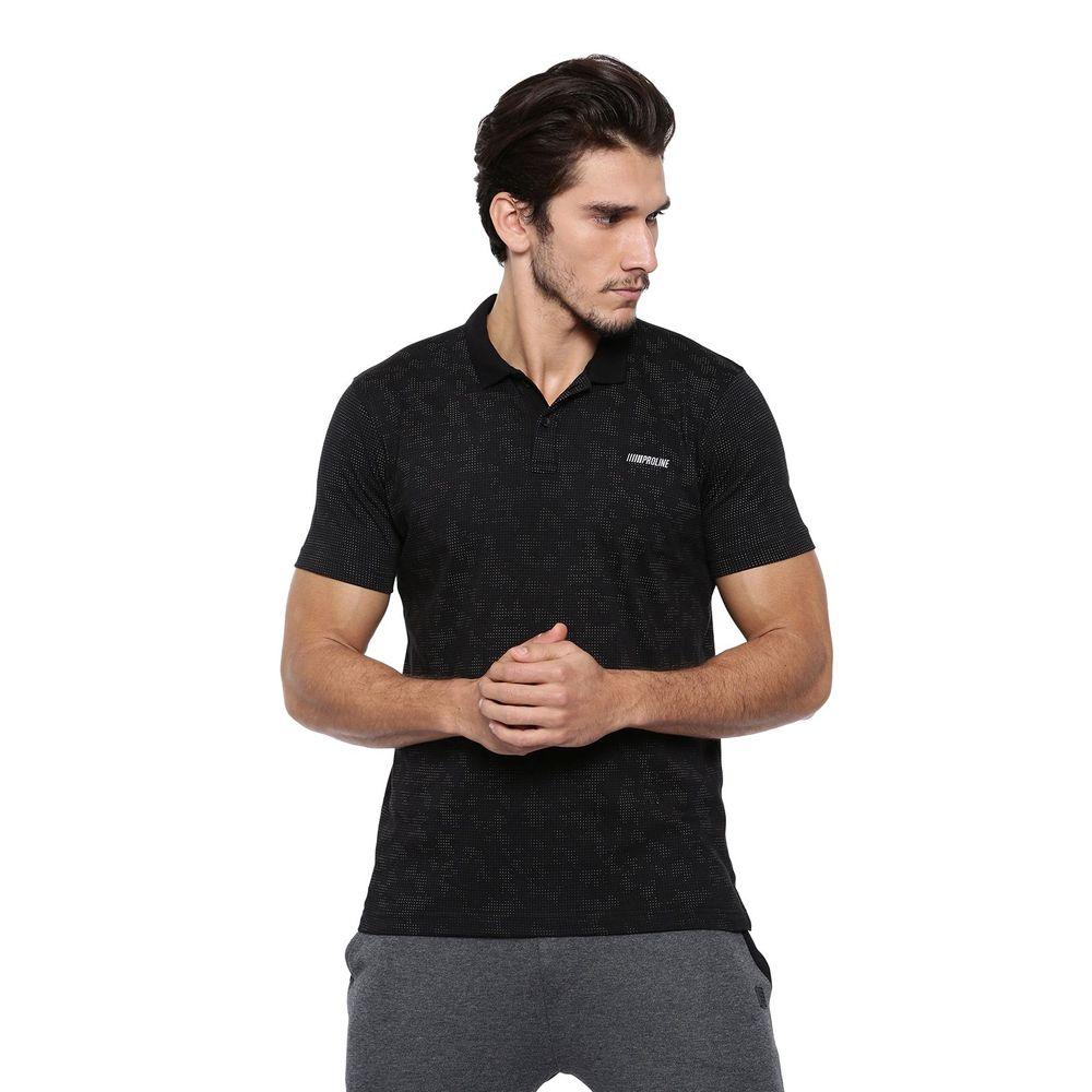 67b7db9b Proline Black Polo Neck Short Sleeve All Over Print Detail Cotton Polo |  Pv16025lbk