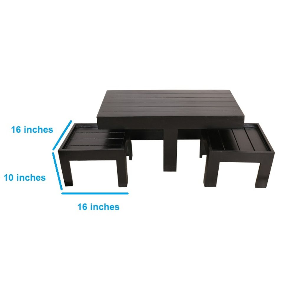Braile Coffee Table With Set Of Two Stools
