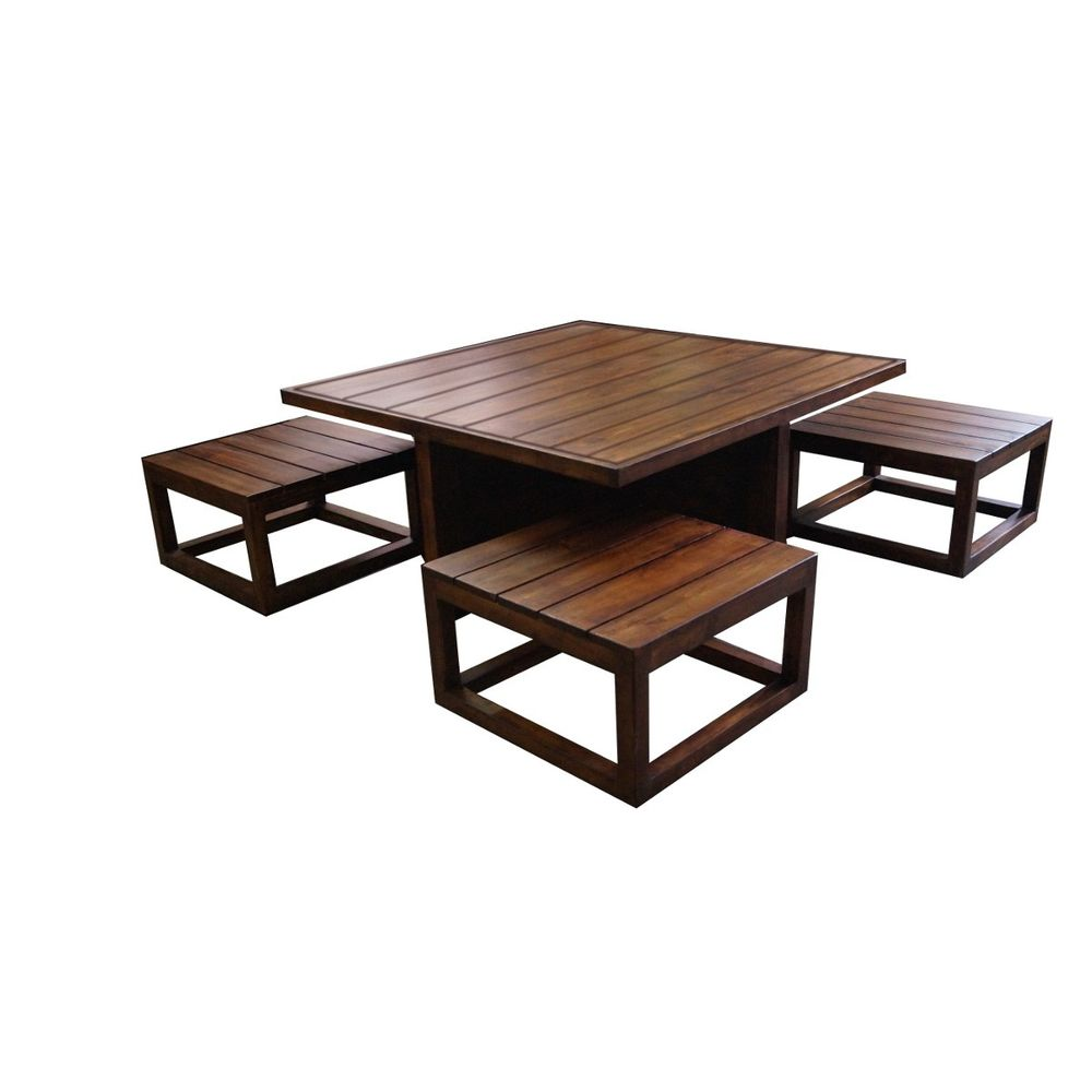 - Plus - Coffee Table Set With Stools