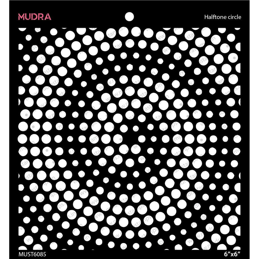 Halftone Circle 6x6 Stencils | Must6085 | Mudra