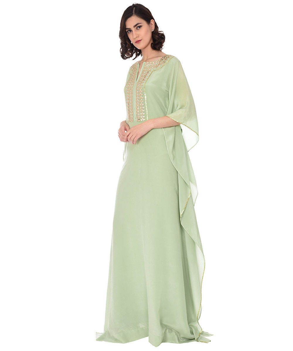 7537cf34 Sage Green Gota Patti with Sequin and Mirror Work Kaftan Gown
