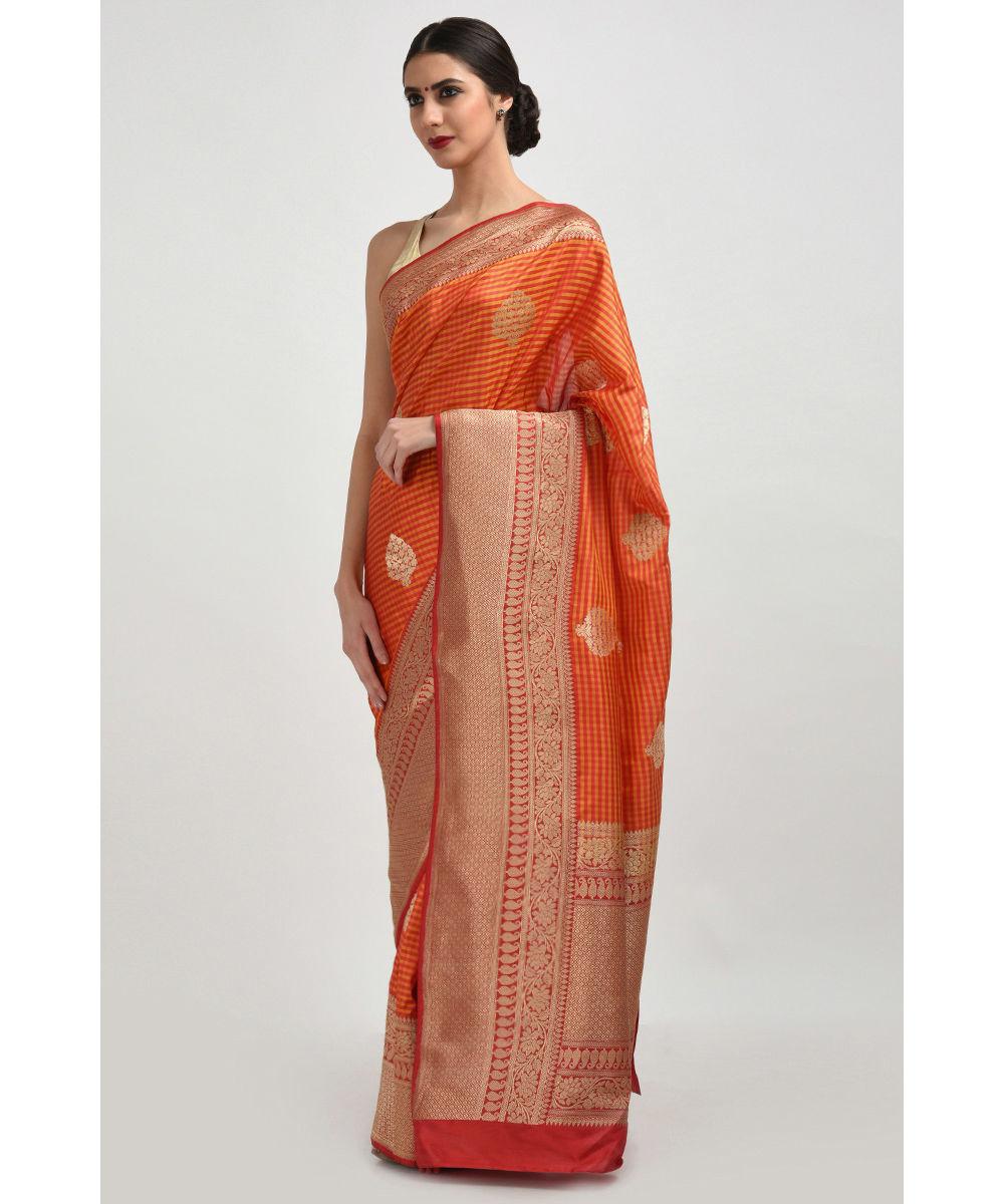 Www Banarasisareeinnepal: Yellow-Red Check Pattern & Banarasi Zari Handwoven Pure