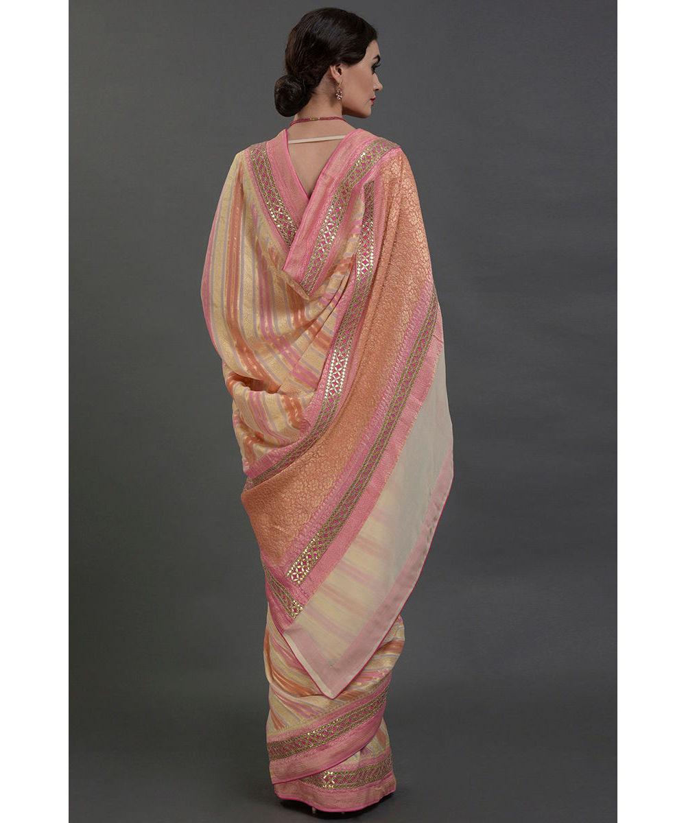 Www Banarasisareeinnepal: Cream Rangkat Dye Zari Weave Banarasi & Gota Patti Work Saree