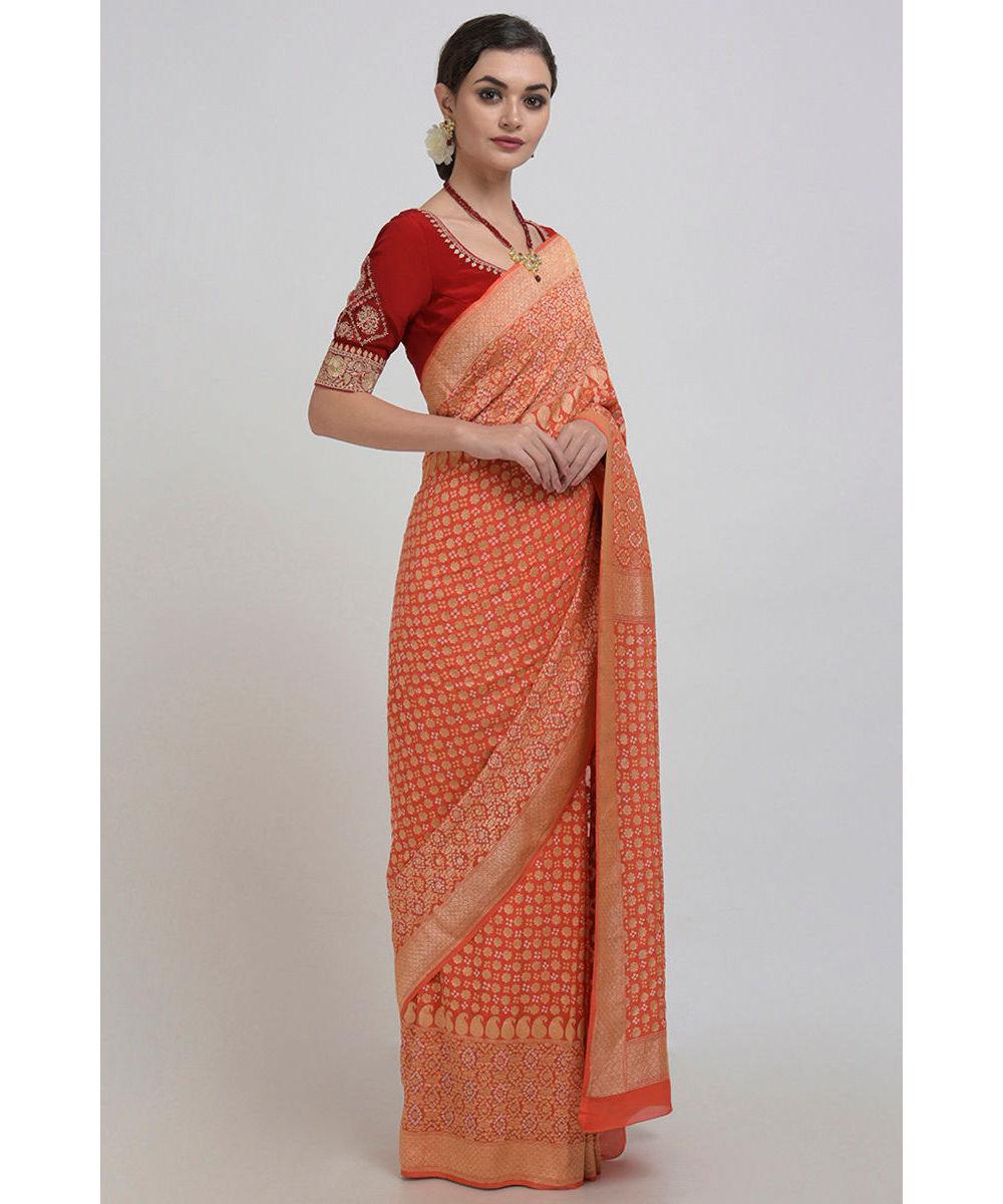 Www Banarasisareeinnepal: Orange Banarasi Zari Bandhej Saree ( With Two Blouses