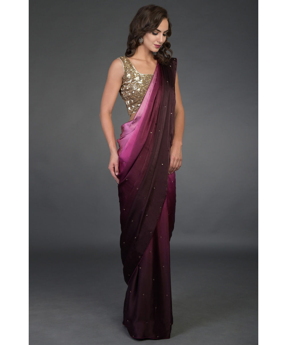 a2879970 Wine-Pink Ombre Sequin & Zardozi Hand Embroidered Saree