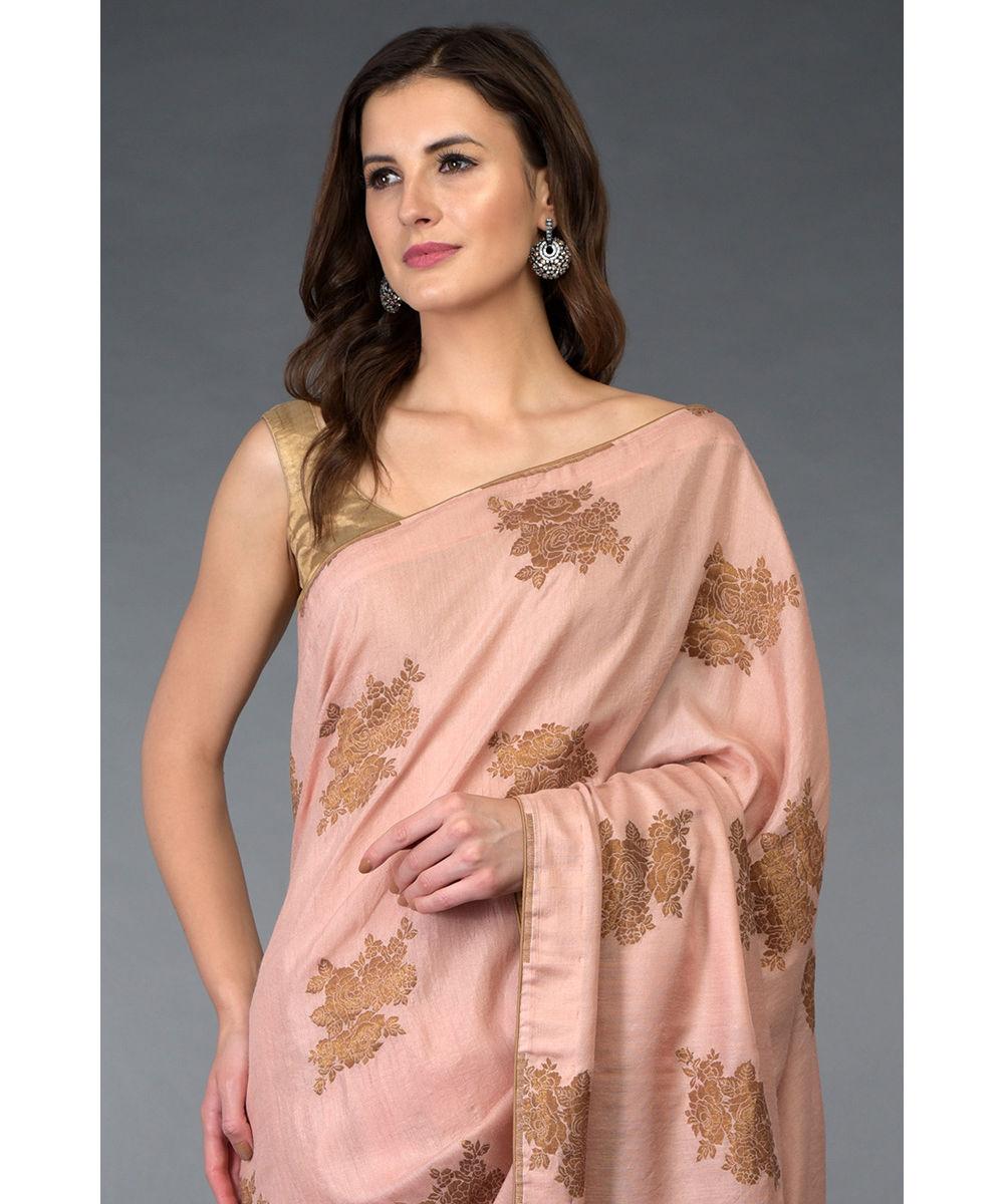 Www Banarasisareeinnepal: Pressed Rose- Copper Gold Banarasi Rose Zari Handwoven Saree