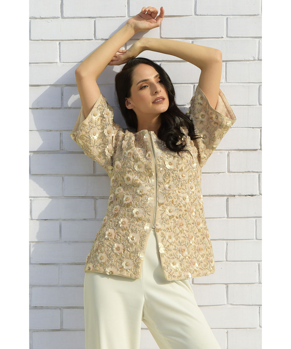 89f18862 May Flower Beads Sequin Hand Embroidered Jacket | Tt-13641jk