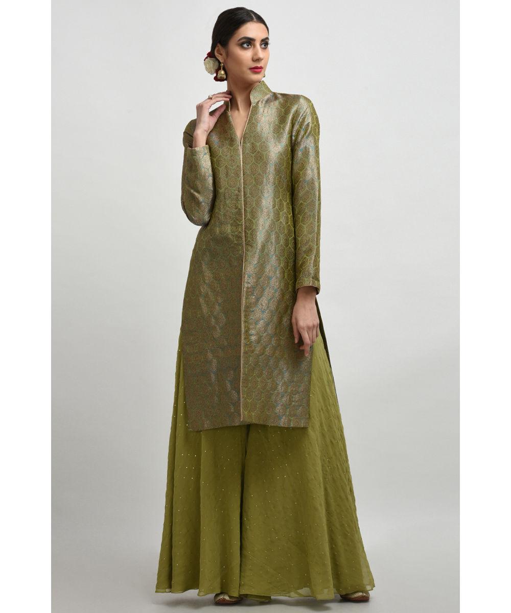 900b3de683c Mehandi Green Banarasi Brocade Jacket with Mukaish Palazzo ...