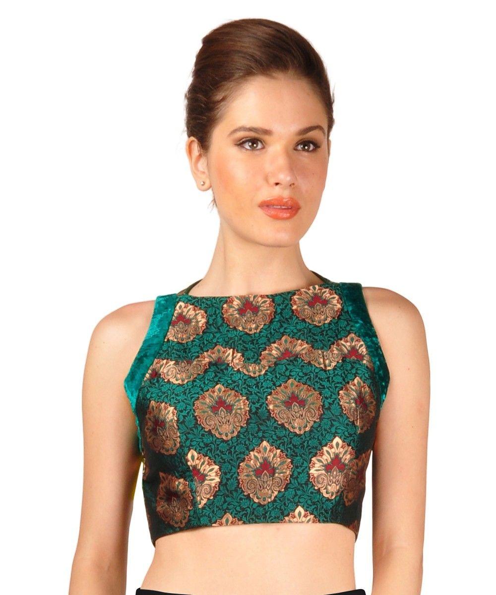 a4651f54582fc7 Green Multi-coloured Pure Brocade Silk Croptop