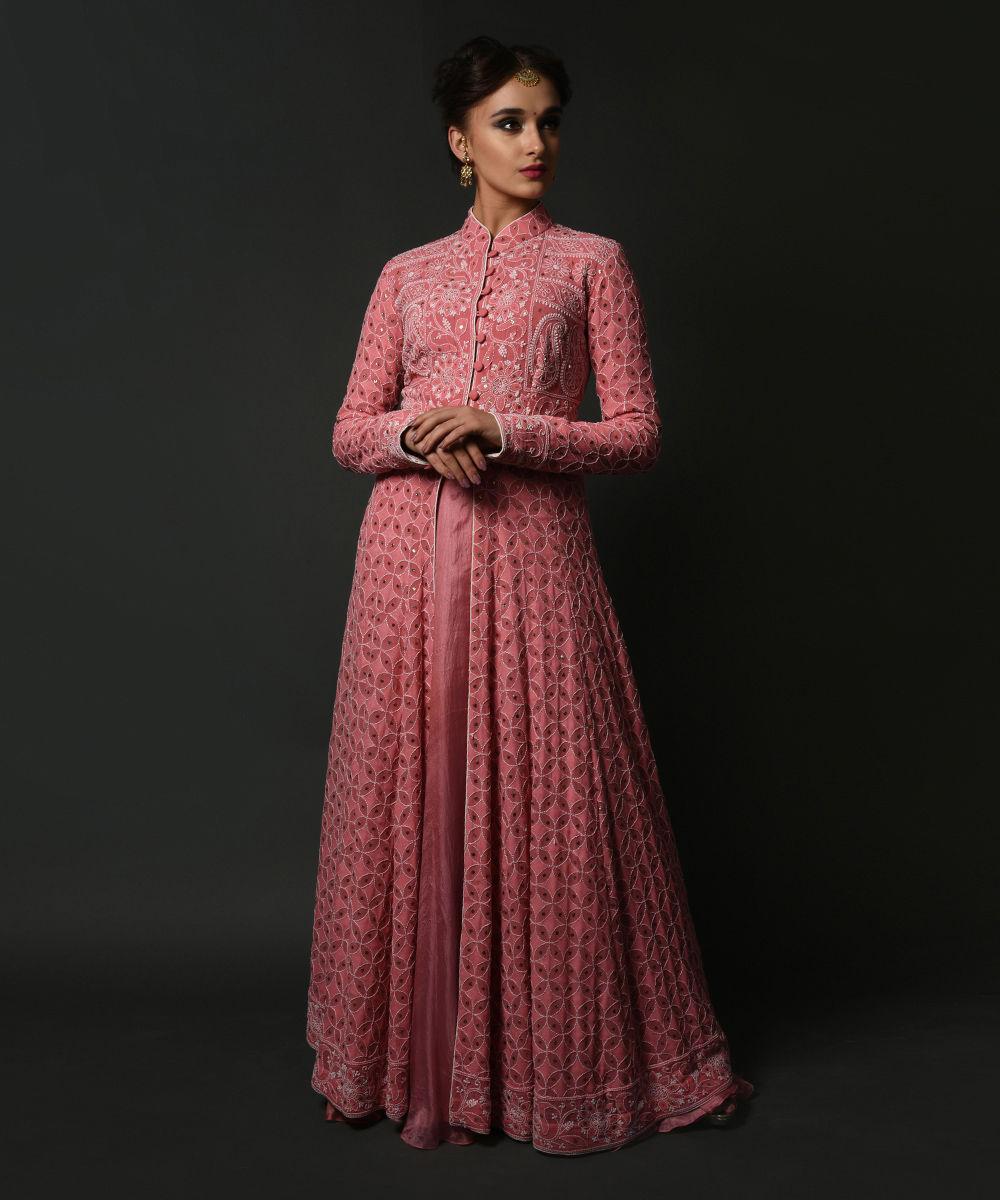 Salmon Pink Chikankari and Kamdani Peshwa Kalidaar Outfit