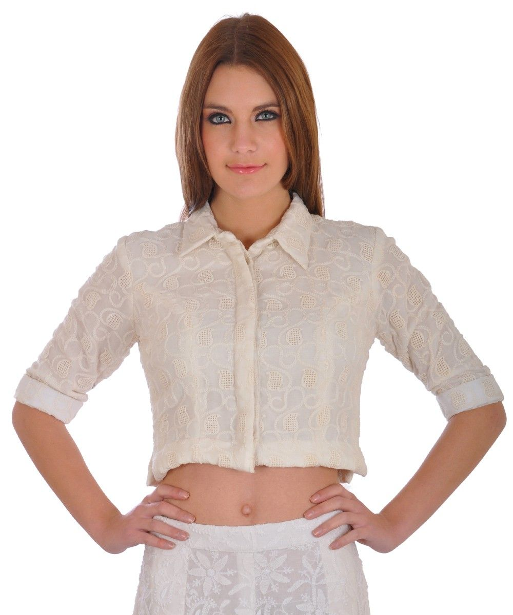 9677eb6b4e36f5 White Georgette Hand Embroidered Classic Collared Crop Top