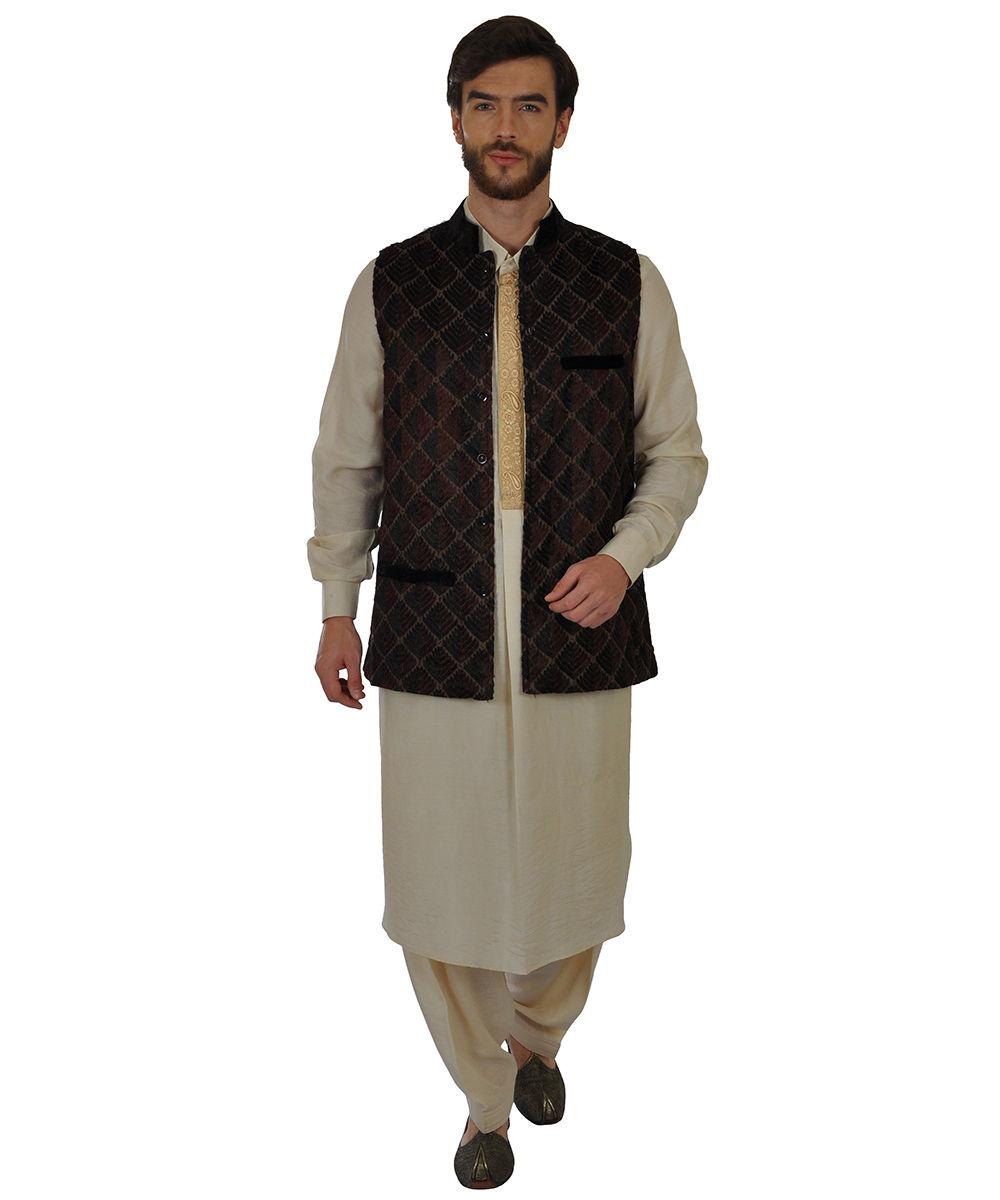 Beige multi colour phulkari hand embroidered jacket
