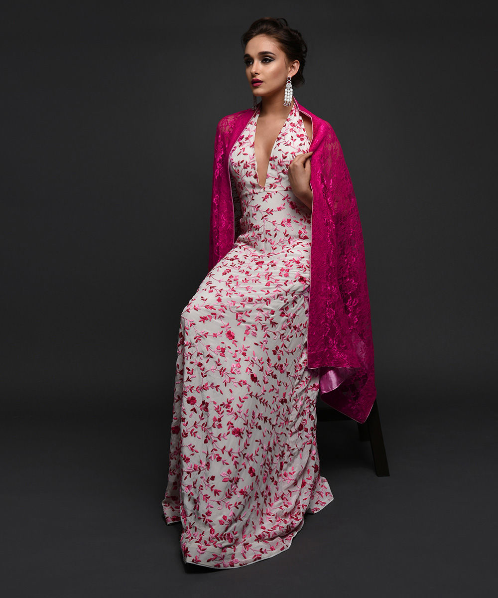Masterpiece Ivory-Pink Parsi Gara Embroidered Gown With Lace Stole 60283fe1e