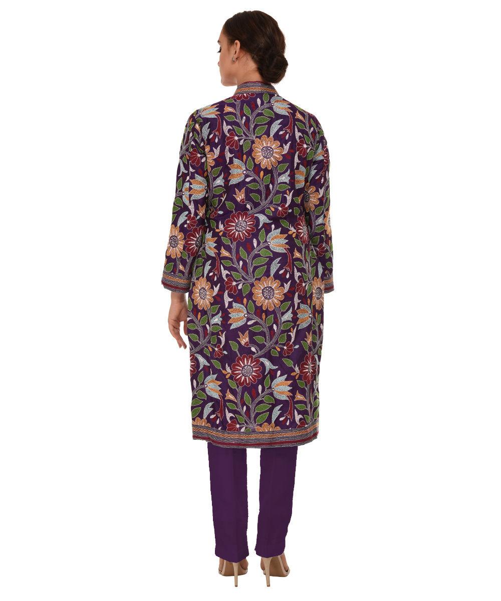 Purple multi colour hand embroidered kantha pure silk jacket